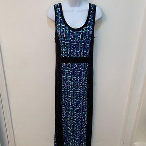 Apt. 9 blue, aqua and black column maxi dress -PL